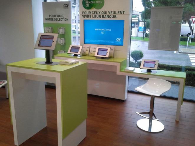 Agencement de L'agence Crédit Agricole dans la Drôme