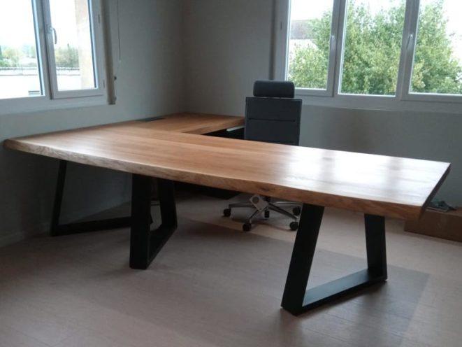 Bureau d'angle sur-mesure en bois avec piètement acier une fabrication Vallon Faure