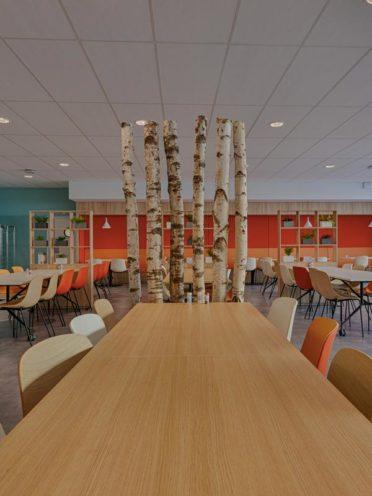 Fabrication de claustra en bois sur-mesure pour l'agencement d'un espace de restauration
